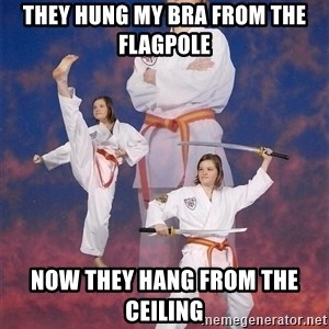 Karate Kylie - they hung my bra from the flagpole now they hang from the ceiling