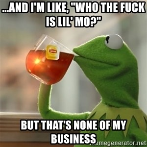 """Kermit The Frog Drinking Tea - ...and i'm like, """"who the fuck is lil' mo?""""  but that's none of my business"""