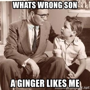 Racist Father - whats wrong son a ginger likes me