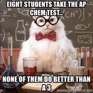 Chemistry Cat - Eight students take the AP chem test... None of them do better than a 3