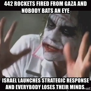 Loses Their Minds - 442 rockets fired from gaza and nobody bats an eye israel launches strategic response and everybody loses their minds.