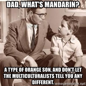 Racist Father - Dad, what's Mandarin? A type of orange son, and don't let the Multiculturalists tell you any different.