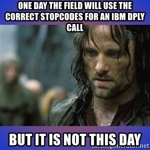 but it is not this day - One day the field will use the correct stopcodes for an ibm dply call but it is not this day