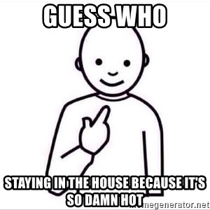 Guess who ? - Guess who Staying in the house because it's so damn hot