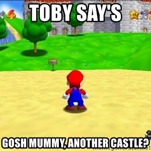 Mario looking at castle - Toby say's Gosh mummy, another castle?