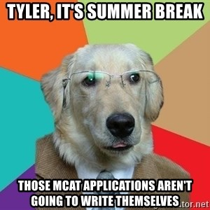 Business Dog - Tyler, it's summer break Those MCAT applications aren't going to write themselves