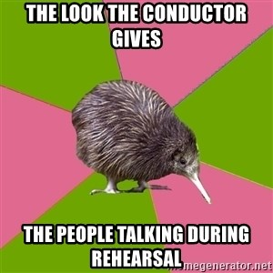 Choir Kiwi - THE LOOK THE CONDUCTOR GIVES THE PEOPLE TALKING DURING REHEARSAL