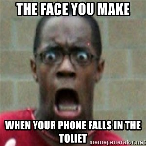 SCARED BLACK MAN - The face you make When your phone falls in the toliet