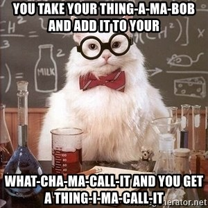 Chemistry Cat - You take your Thing-a-ma-bob and add it to your What-cha-ma-call-it and you get a Thing-i-ma-call-it