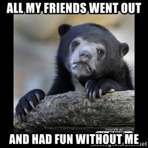 sad bear - ALL MY FRIENDS WENT OUT AND HAD FUN WITHOUT ME