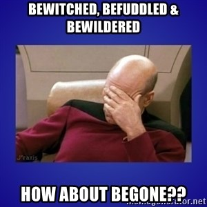 Picard facepalm  - BEWITCHED, BEFUDDLED & Bewildered How about BEGONE??