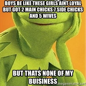 Kermit the frog - Boys be like these girls aint loyal but got 2 main chicks 7 side chicks and 5 wives But thats none of my buisiness