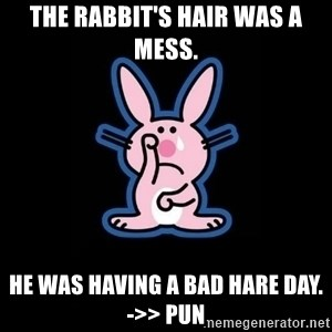 Happy Bunny  - The rabbit's hair was a mess. he was having a bad hare day. ->> PUN