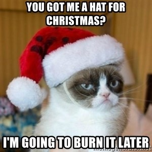Grumpy Cat Santa Hat - You got me a hat for Christmas? I'm going to burn it later