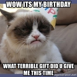 Birthday Grumpy Cat - wow its my birthday  what terrible gift did u give me this time