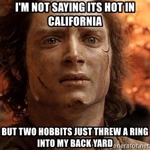 Frodo  - I'm not saying its hot in California but two hobbits just threw a ring into my back yard