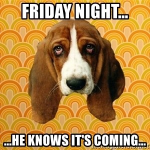 SAD DOG - Friday night... ...he knows it's coming...