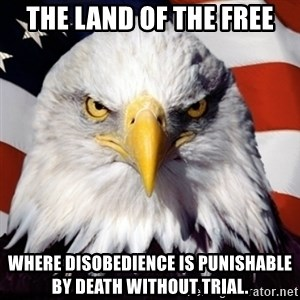 Freedom Eagle  - the land of the free where disobedience is punishable by death without trial.