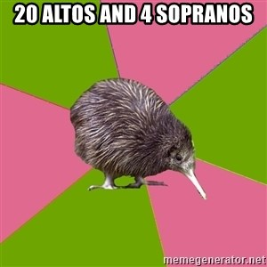 Choir Kiwi - 20 altos and 4 sopranos