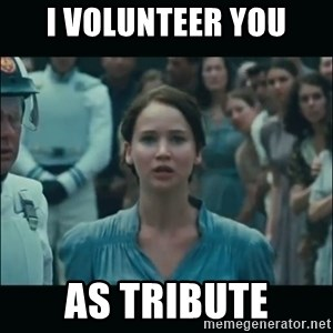 I volunteer as tribute Katniss - I volunteer YOU AS TRIBUTE