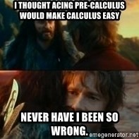 Never Have I Been So Wrong - I thought acing pre-calculus would make calculus easy  Never have I been so wrong.