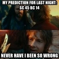 Never Have I Been So Wrong - My prediction for last night: SC 45 BC 14 Never have I been so wrong