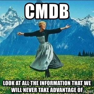 Look at all the things - CMDB Look at all the information that we will never take advantage of
