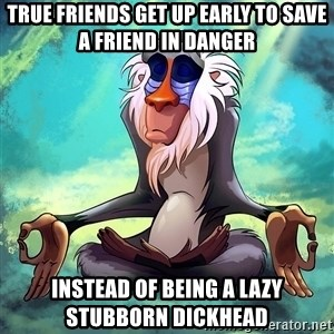 Wise Rafiki - true friends get up early to save a friend in danger instead of being a lazy stubborn dickhead