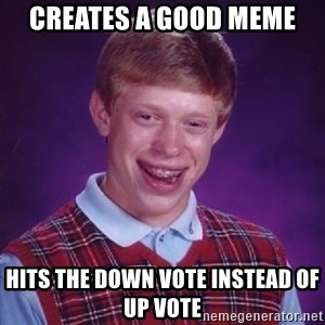 Bad Luck Brian - creates a good meme hits the down vote instead of up vote