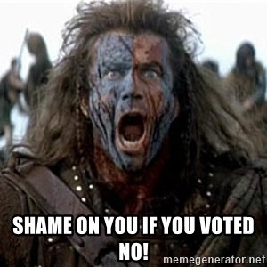william wallace -  Shame on you if you voted no!