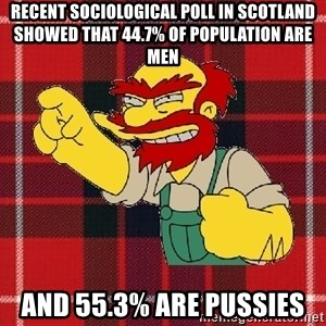Angry Scotsman - Recent sociological poll in Scotland showed that 44.7% of population are men AND 55.3% are pussies