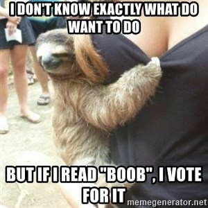 "Perverted Sloth - I don't know exactly what do want to do But if I read ""boob"", I vote for it"