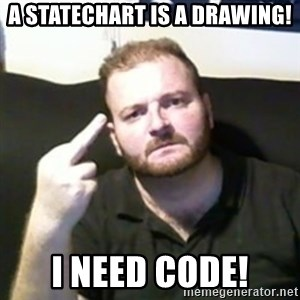 Angry Drunken Comedian - A STATECHART IS A DRAWING! I NEED CODE!