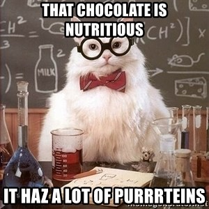 Chemist cat - that chocolate is nutritious It haz a lot of purrrteins