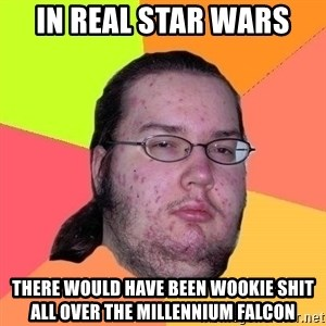Gordo Nerd - in real star wars there would have been wookie shit all over the millennium falcon