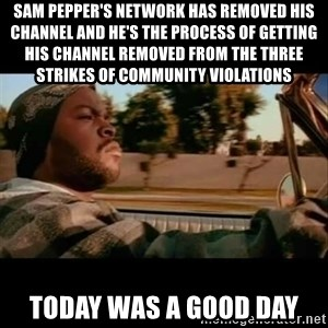 Ice Cube- Today was a Good day - sam pepper's network has removed his channel and he's the process of getting his channel removed from the three strikes of community violations today was a good day