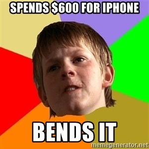 Angry School Boy - spends $600 for iphone bends it