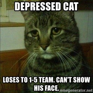 Depressed cat 2 - depressed cat loses to 1-5 team. can't show his face.