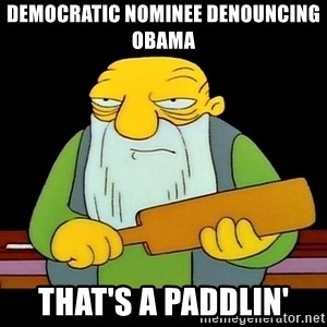 That's a paddling - democratic nominee denouncing obama that's a paddlin'