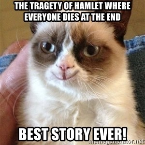 Grumpy Cat Happy Version - the tragety of hamlet where everyone dies at the end Best story ever!
