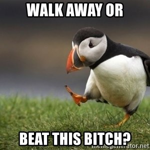 Unpopular Opinion Puffin - Walk away OR Beat this bitch?