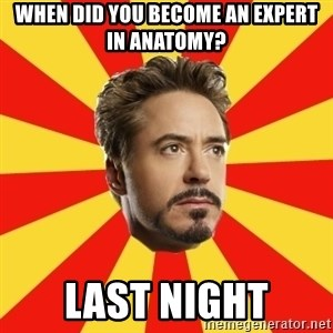 Leave it to Iron Man - when did you become an expert in anatomy? last night