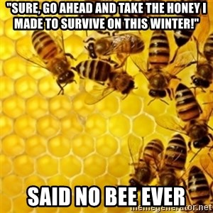 """Honeybees - """"Sure, go ahead and take the honey i made to survive on this winter!"""" said no bee ever"""