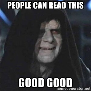 Sith Lord - people can read this good good