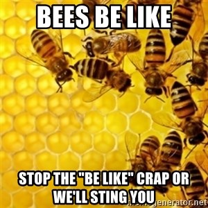"""Honeybees - bees be like stop the """"be like"""" crap or we'll sting you"""