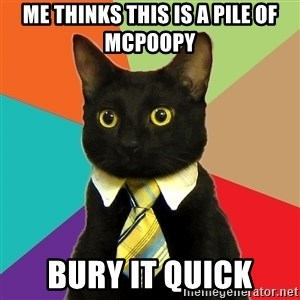Business Cat - Me thinks this is a pile of McPoopy Bury it quick