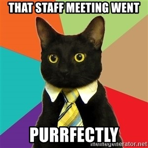 Business Cat - That staff meeting went purrfectly