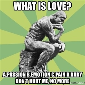 Overly-Literal Thinker - what is love? a.passion b.emotion c.pain d.baby don't hurt me, no more