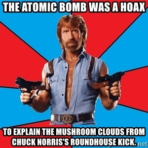 Chuck Norris  - the atomic bomb was a hoax to explain the mushroom clouds from chuck norris's roundhouse kick.