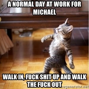 walking cat - a normal day at work for michael walk in, fuck shit up and walk the fuck out